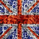 UK flag overlaid on mutiple pound currency symbols