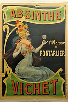 advertising poster by Nover for absinthe Vichet, town Museum of Pontarlier, Doubs departement, Franche-Comte region, France Europe