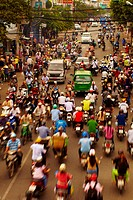 Main street of Ho Chi Minh crowded with motorcycles
