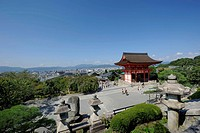 View of Kyoto as seen from the Kiyomizu-dera Temple, the gatehouse and stone lanterns in the foreground, Japan, East Asia, Asia