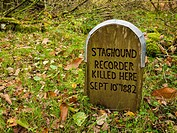 Staghound Recorder Killed Here sign at Horner Wood in Exmoor National Park, Somerset, England