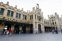 Facade of the railway station in Valencia, Spain, Europe