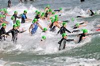 Swimming, triathlon competition, Barcelona, Catalonia, Spain