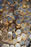 Piles of euro coins