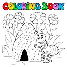 Coloring book ant near anthill _ picture illustration.