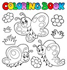 Coloring book with butterflies 2 _ picture illustration.