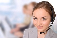Successful female customer service representative