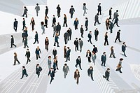Large group of business people walking and talking on image of skycrapers