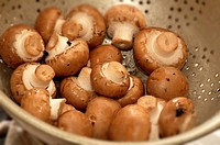 Fresh brown mushrooms in a metal colander