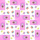Vector cute owl card. Baby girl arrival announcement card.