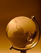 Crystal glass globe orange tinted