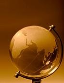 Crystal glass globe orange tinted