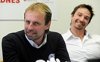 Rostislav Vlach left, coach of PSGS Zlin and Petr Cajanek, captain of Zlin team speak during a press conference on friendly hockey match, PSG Zlin vs ...