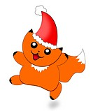 Abstract Christmas cartoon picture of a cute cat