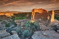 Tower Point ruin at sunset, Hovenweep National Monument, Colorado Plateau, Utah, USA