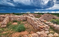 Summer thunderstorm over ruins of Lowry Pueblo, Anasazi ruins at Canyons of the Ancients National Monument, Colorado, USA
