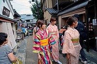 Young women in traditional japanese clothes, Arashiyama, Kyoto