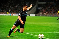 Champions League AFC Ajax vs Manchester City 24-10-2012 Amsterdam NL In an exciting match the Amsterdammers win 3-1  Sergio Aguero attacks in the seco...