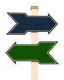 blue and green wooden arrow
