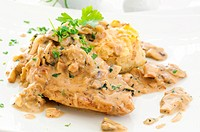 Chicken steak with cream mushroom sauce