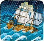 Businessman at the helm of ship in stormy ocean