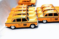Toy Replicas of Checker New York City Taxi Cabs