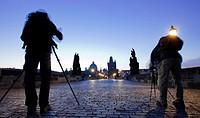 Photographers,tripod, Old Town Bridge Tower, Charles Bridge, Karluv Most, Prague, Czech Republic, Europe