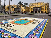 Peru  Lima city  Traditional architecture  Flower Carpet in the Plaza de Armas