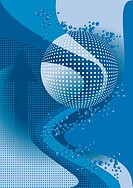 Abstract blue banner with the bubbles
