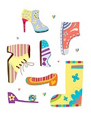 various kinds of shoes