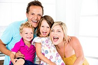 Germany, Playful family, smiling, portrait (thumbnail)