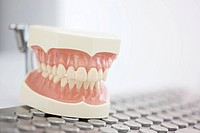 Germany, Exhibition dentures on keyboard in dental office
