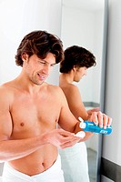 Man using water lotion.