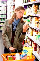 Woman in supermarket.