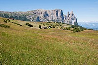 Italy, Alpine meadow towards Schlern and Santner Spitze at South Tyrol