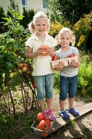 Germany, Bavaria, Girls gathering tomatoes in vegetable garden