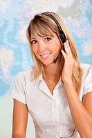 Woman talking on the phone with headset on