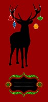 Christmas reindeer silhouette greeting card