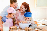 Happy family enjoys baking together