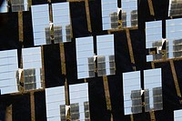 Rows of solar panels, so-called heliostats, generating energy at one of Europe's biggest solar energy fields in the Tabernas Desert, Europe's only tru...