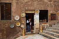 Siena, Piazza San Giovanni, Souvenirs Shop, San Giovanni Square, Tuscany, UNESCO World Heritage Site, Italy, Europe.