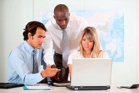 Business people working on international project