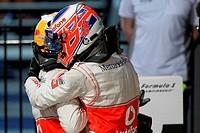 Lewis Hamilton GBR, McLaren Mercedes and 1st place Jenson Button GBR, McLaren Mercedes, F1, Australian Grand Prix, Melbourne, Australia
