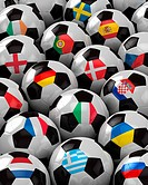 Soccer Balls with the flag of all participating national teams of the 2012 Europ