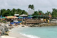 Sunset Beach Bar Dutch Sint Maarten favourite spot for watching big jets landing at adjacent Princess Juliana airport