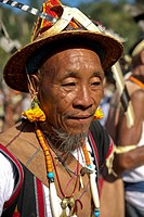 Nocte Naga tribes displaying their culture at the Chalo Loku festival held in Khonsa, Arunachal Pradesh, India, Asia