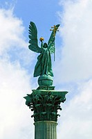 Budapest, Hungary, At the center of Heroes´ Square stands the Millennium Memorial with statues of the leaders of the seven tribes that founded Hungary...