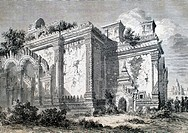Ruined temple in Pagan  Trip to the Kingdom of Ava, the Burmese Empire, travel of Captain Henry Yule, Corps of Engineers Bengalis, 1855  Burma  Republ...