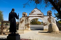 Statue of Father Junipero Serra at the Historic Mission San Miguel in California USA