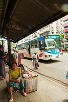 Bus stop at one of Yangon's busy avenues